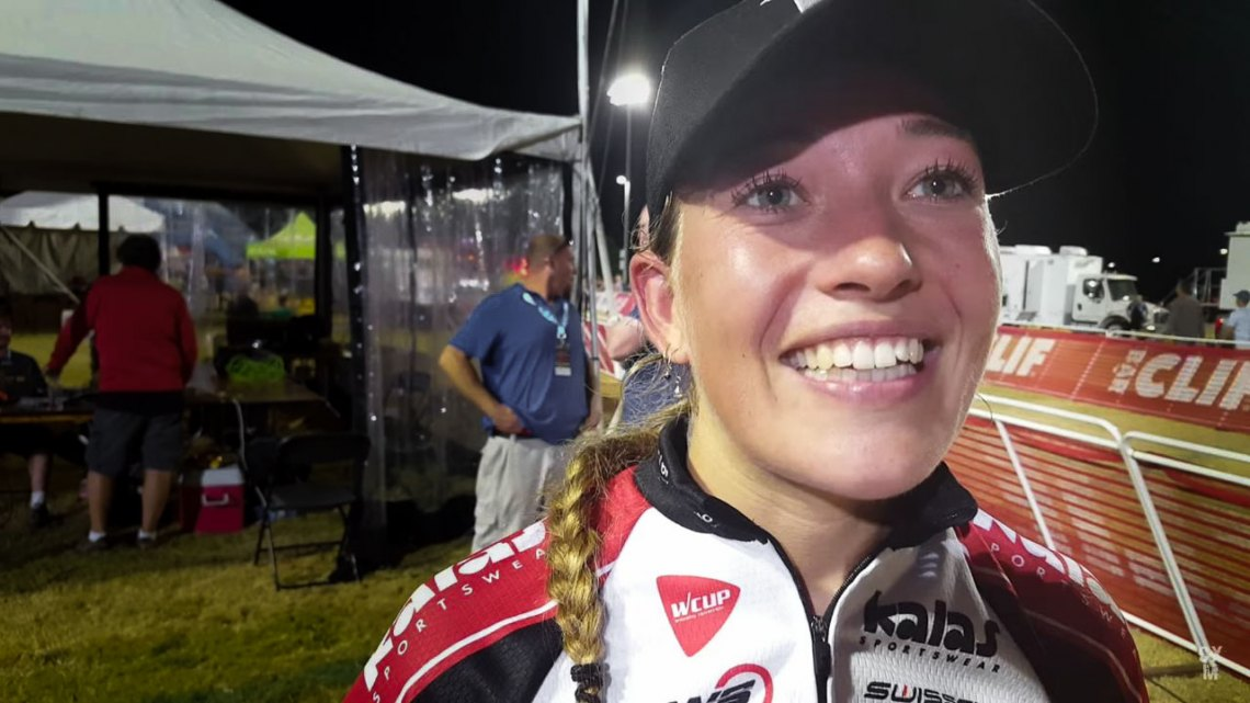 Sophie de Boer after her 2016 ClifBar CrossVegas World Cup win. © Cyclocross Magazine
