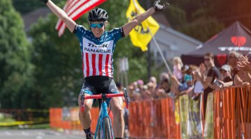 Compton returns to a familiar position and salute. 2016 Trek CXC Cup Day 1 Elite Women. © Wil Mathews