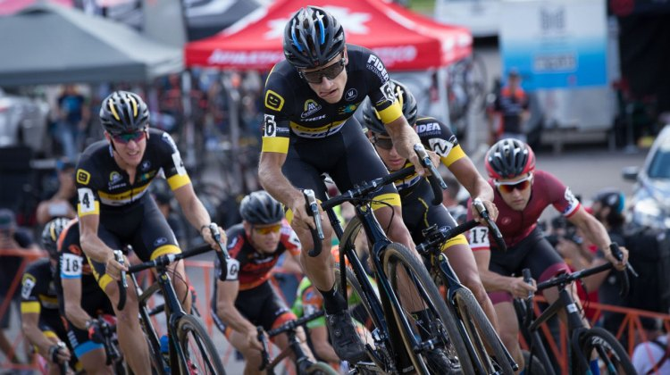 Telenet-Fidea amassed at the front, but couldn't stop a Steve Chainel win. 2016 Trek CXC Cup Day 1 Elite Men. © Wil Mathews