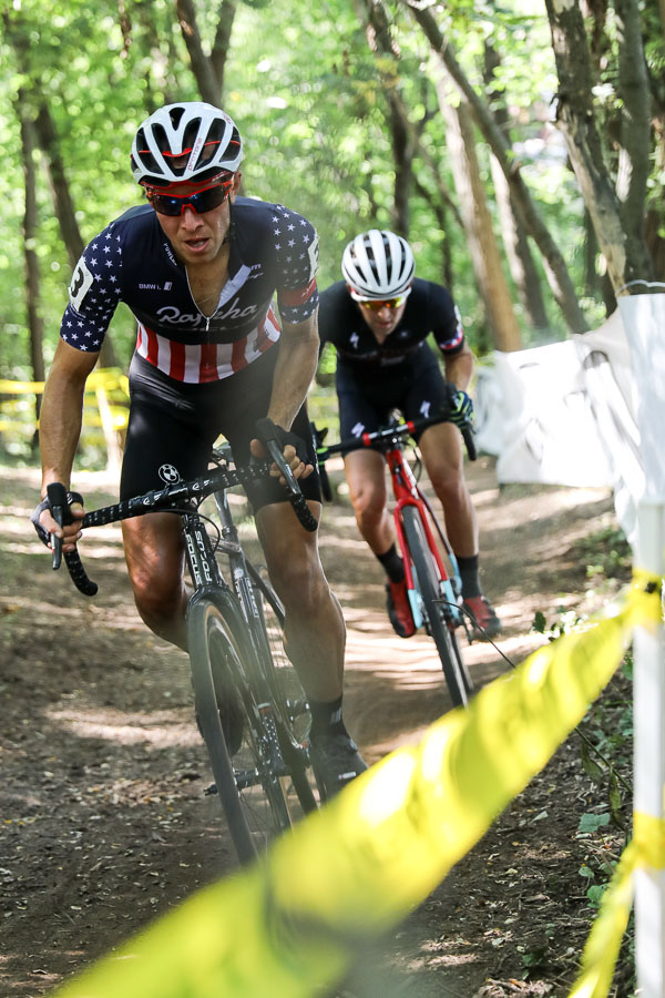Jeremy Powers crashed early and would abandon, but he gave chase as he tried to salvage his only race day in Waterloo. Elite Men, 2016 Trek CXC Cup Day 2 © Jeff Curtes