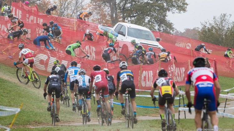 """The famous """"camel hump"""" at Kings CX turned treacherous after the first lap from repeated rain showers. © Kent Baumgardt"""