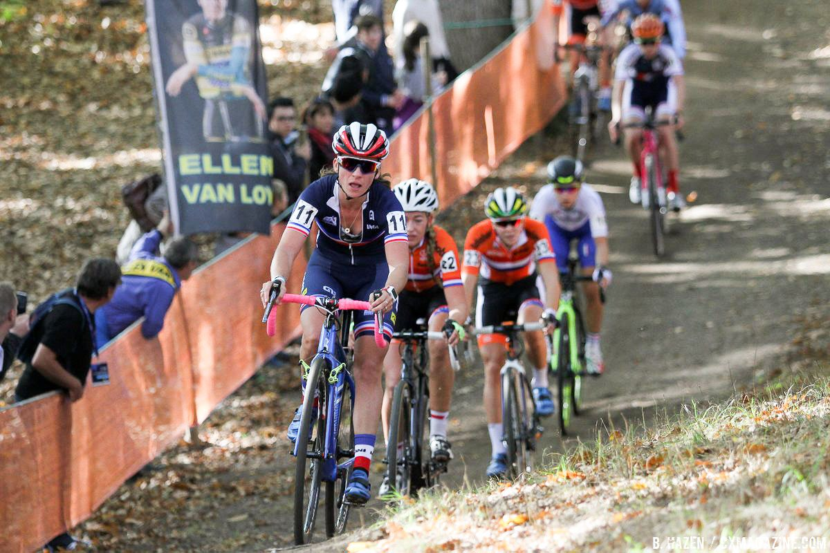 Mani leading the chase to rejoin the leaders. 2016 UEC European Cyclocross Championships, Elite Women. © B. Hazen / Cyclocross Magazine