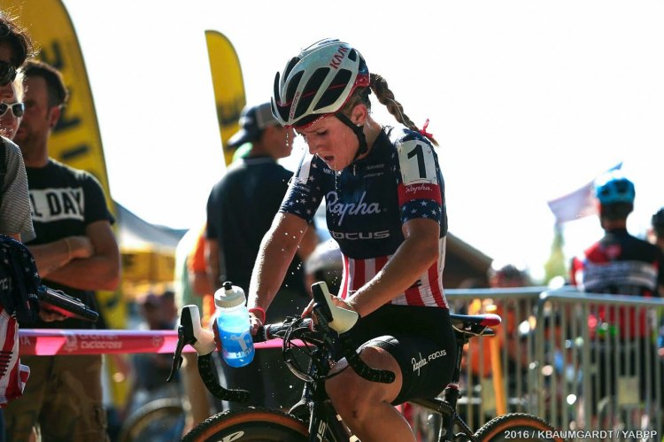 Ellen Noble cools down after a heated battle with Emma White to defend her 2015 title win. 2016 Pan American Cyclocross Championships © Kent Baumgardt