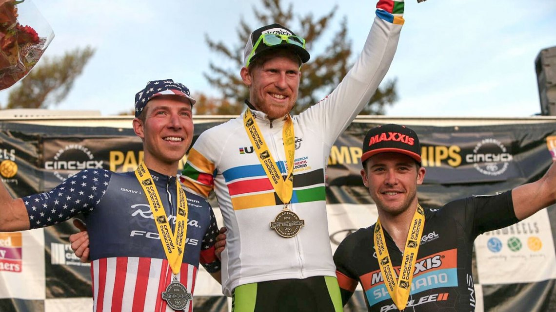 From Left to Right: Jeremy Powers, Stephen Hyde and Danny Summerhill. 2016 Pan American Cyclocross Championships © Kent Baumgardt