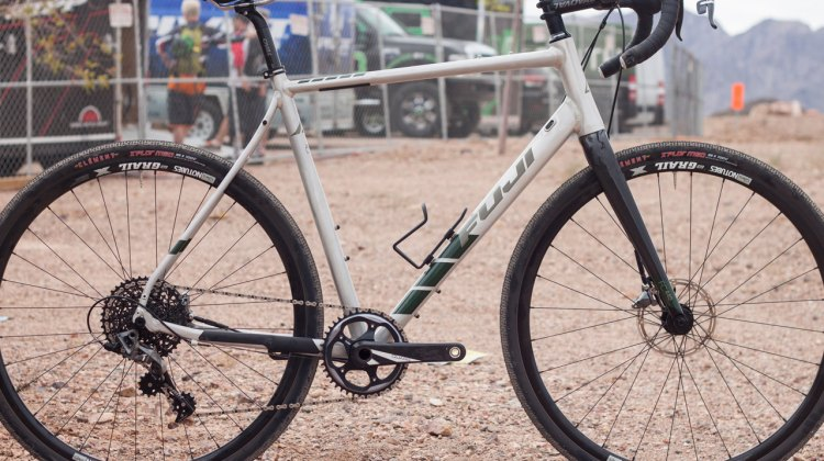 The Fuji Jari 1.1 aluminum 1x gravel bike at Interbike Outdoor Demo 2016. Available in October/November, the bike has a claimed weight of 19.47 lbs for a 56cm, and a retail price of $2,950 USD © Cyclocross Magazine