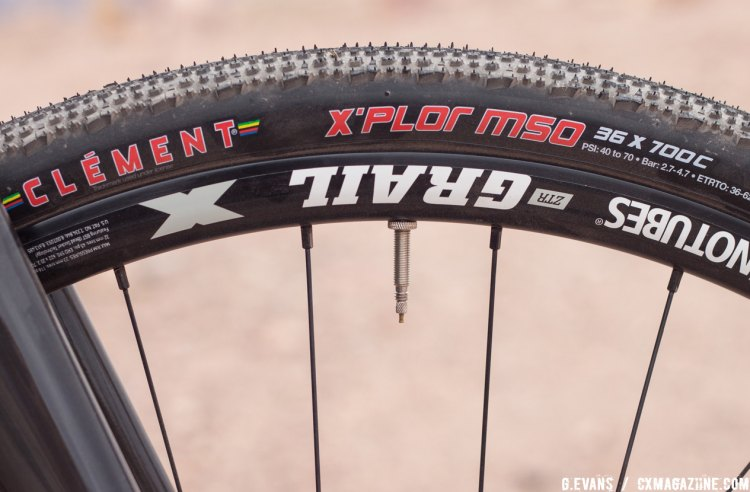 Stans NoTubes Grail 28h wheels come wrapped in tubeless compatible Clement X'PLOR MSO 700x36c tires. © Cyclocross Magazine