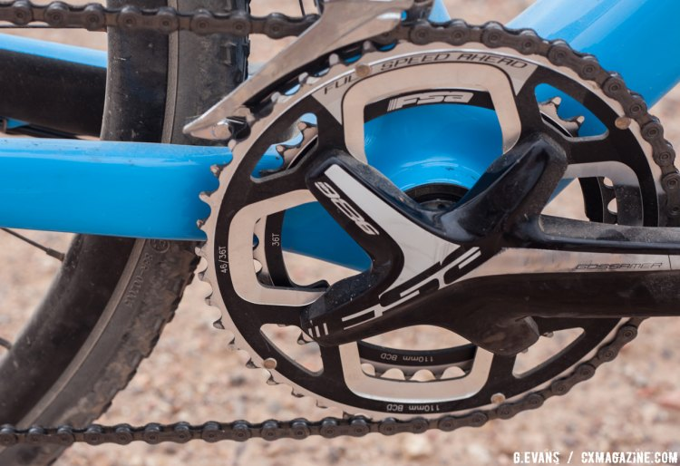 Despite being billed as the Ultegra Pro build, the spec opts for an FSA Gossamer Pro crankset with 46/36t rings. © Cyclocross Magazine