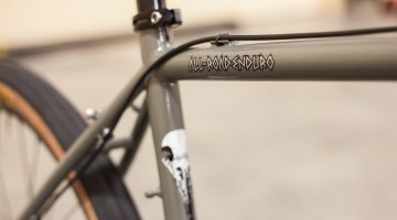 "The ""all-road enduro"" moniker coined by Jan Heine of Compass Bicycles appears to have caught on, making its way onto the Rawland RAVN's top tube. © Cyclocross Magazine"