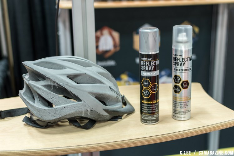 Albedo 100 reflective spray. The helmet on the left is treated with the permanent spray, changing its color. © Clifford Lee