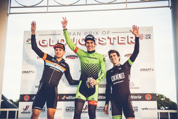 Elite Men's podium with Curtis White, Daniel Summerhill, and Jeremy Durrin. 2016 GP of Gloucester Day 1. photo: Angelica Dixon