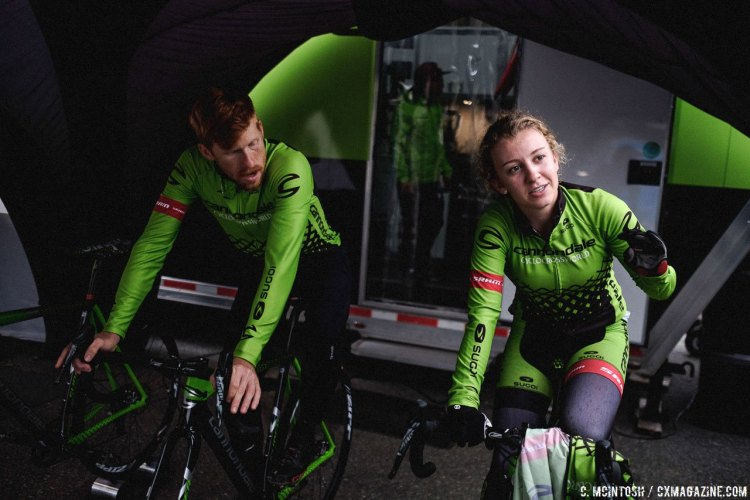 Emma White and Stephen Hyde warming up in the tent. 2016 KMC Cross Fest Day 2. © Chris McIntosh / Cyclocross Magazine