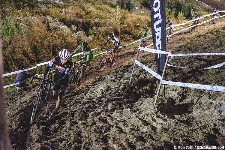 A progression of dismounts as riders approached the stairs. 2016 KMC Cross Fest Day 2. © Chris McIntosh / Cyclocross Magazine