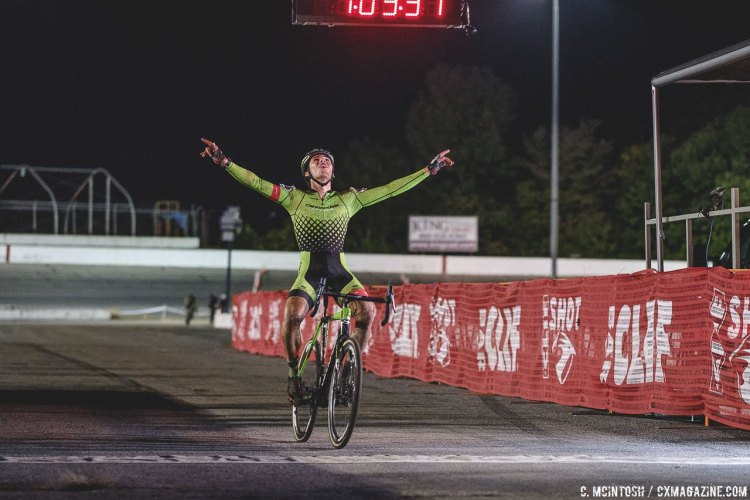 Curtis White is overcome with emotion while crossing the finish line for his first Elite UCI win of the season. © Chris McIntosh / Cyclocross Magazine
