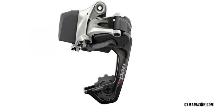 Close-up of the new SRAM RED eTap WiFli rear derailleur.
