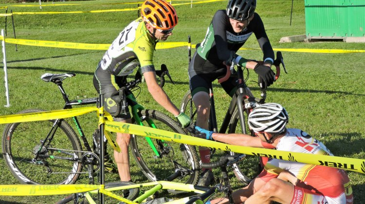 Post-race Wisconsin Nice extends to the cyclocross track, as Stelljes, Neff, and Matter share congrats after their epic battle. (Photo: Zach Schuster)