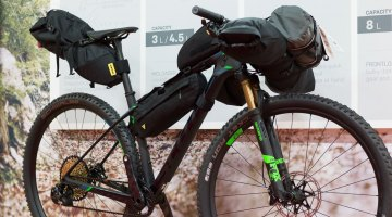 Topeak has entered the bikepacking market, and has frame bags, saddle bags and handlebar options to carry all you need for an overnight adventure. Interbike 2016 © Cyclocross Magazine