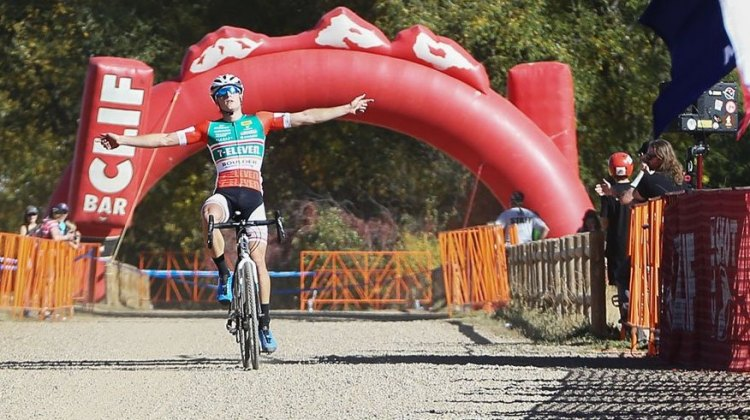 Denzel Stephenson wins the US Open of Cyclocross Day 1. Valmont Bike Park, Boulder. © Cathy Fegan Kim