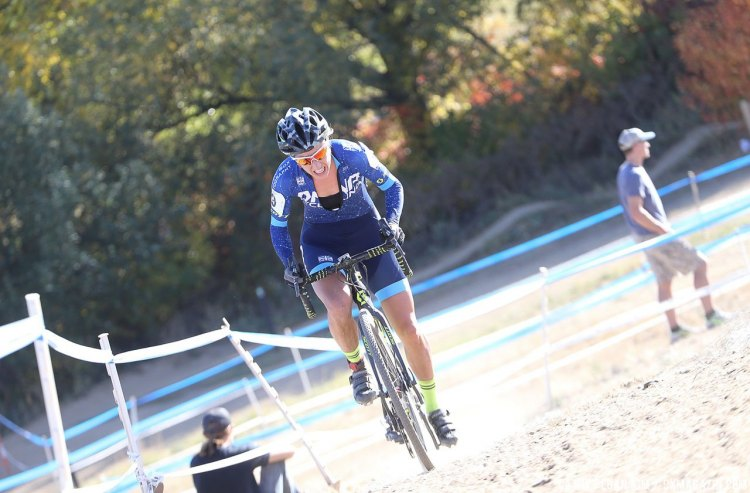 McCutcheon (DNA-Cotton Sox) was in the running for the win before a crash. US Open of Cyclocross Day 1. Valmont Bike Park, Boulder. © Cathy Fegan Kim