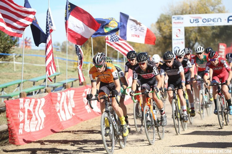 Ellwood leads the start of the U23 race. US Open of Cyclocross UCI C2 Day 2. © Cathy Fegan Kim / Cyclocross Magazine