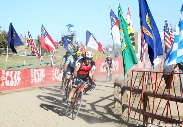 The ageless Page gave chase and moved up to second. US Open of Cyclocross UCI C2 Day 2. © Cathy Fegan Kim / Cyclocross Magazine