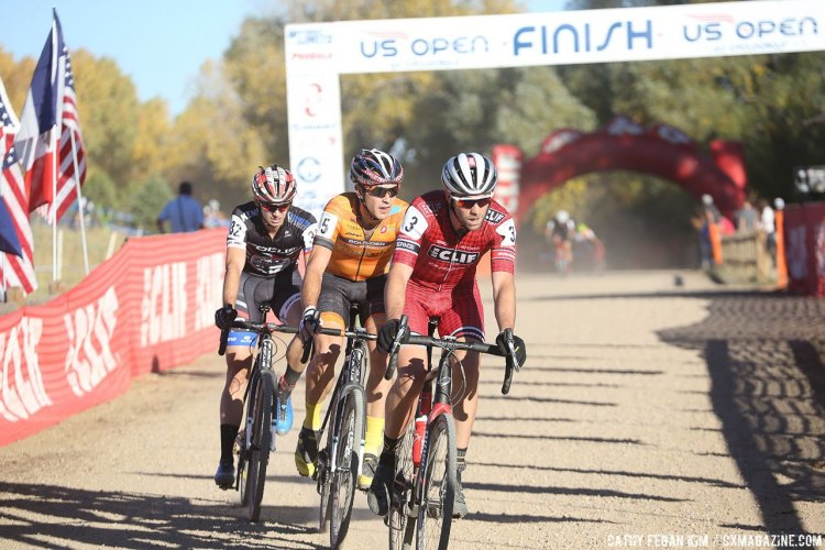 Wells leads Eckmann and Ettinger. US Open of Cyclocross UCI C2 Day 2. © Cathy Fegan Kim / Cyclocross Magazine