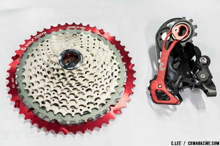 WolfTooth's 49t inner cog mates with Shimano 11-42, SRAM NX, or Sunrace. For Shimano, the inner cage and jockey wheel replacement kit is required. © Cliff Lee