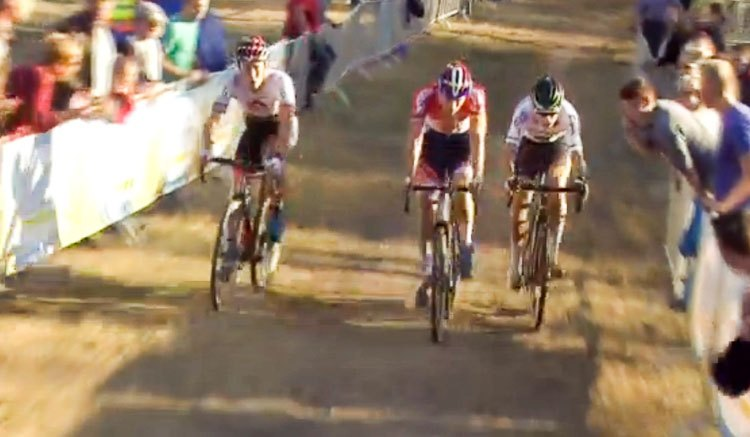 2016 Superprestige Zonhoven Elite Men - Wout van Aert vs. Mathieu van der Poel, joined briefly by Laurens Sweeck
