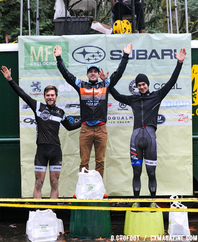 Men's podium from the 2016 Woodland Park MFG Series Finale. © Geoffrey Crofoot
