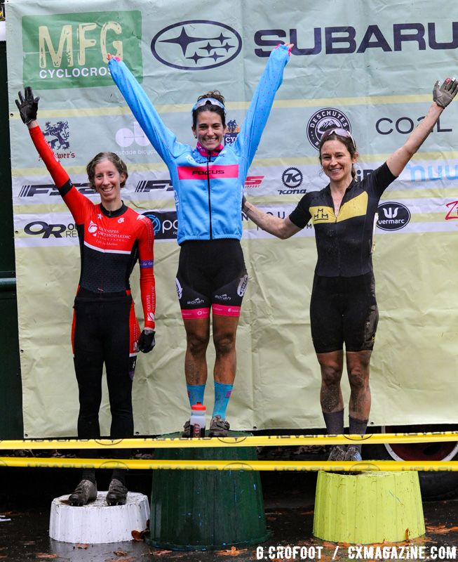 Women's podium from the 2016 Woodland Park MFG Series Finale. © Geoffrey Crofoot