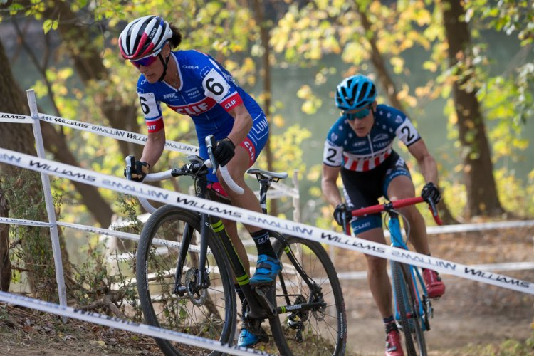 Katerina Nash leads Katie Compton after the two escaped on lap 2. Derby City Cup Cyclocross Race Day 1. © Wil Matthews