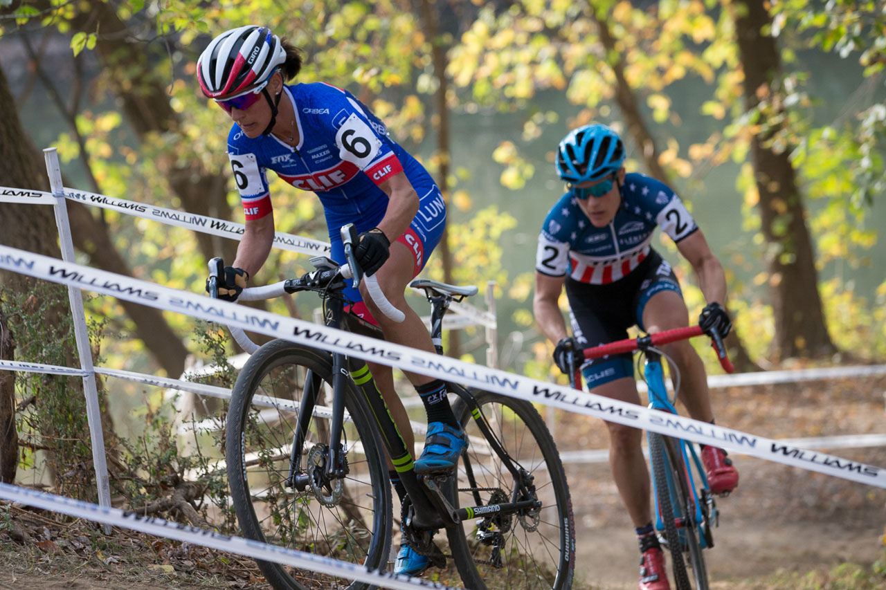 It was a two-woman battle between Katerina Nash and Katie Compton at the Derby City Cup Cyclocross Race Day 1. © Wil Matthews