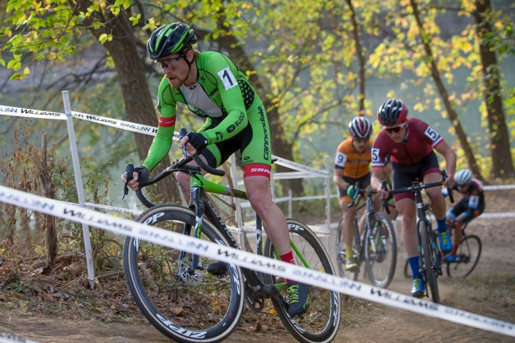 Hyde leads Ortenblad, Krughoff and Werner. Derby City Cup Cyclocross Race Day 1. © Wil Matthews