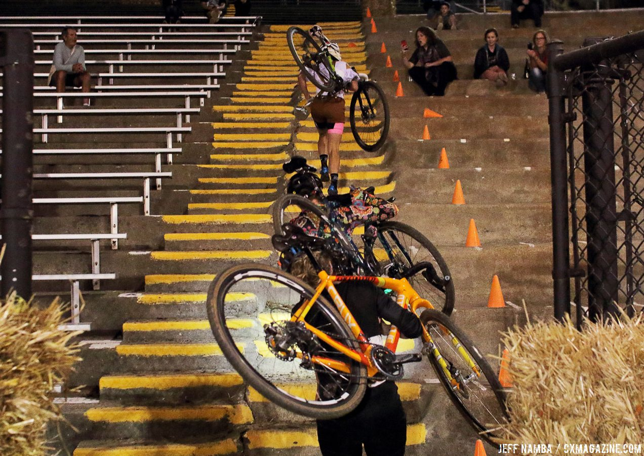 This flight of stairs is scary every week. Folsom Rodeo Cross, 10/26/2016. © Jeff Namba