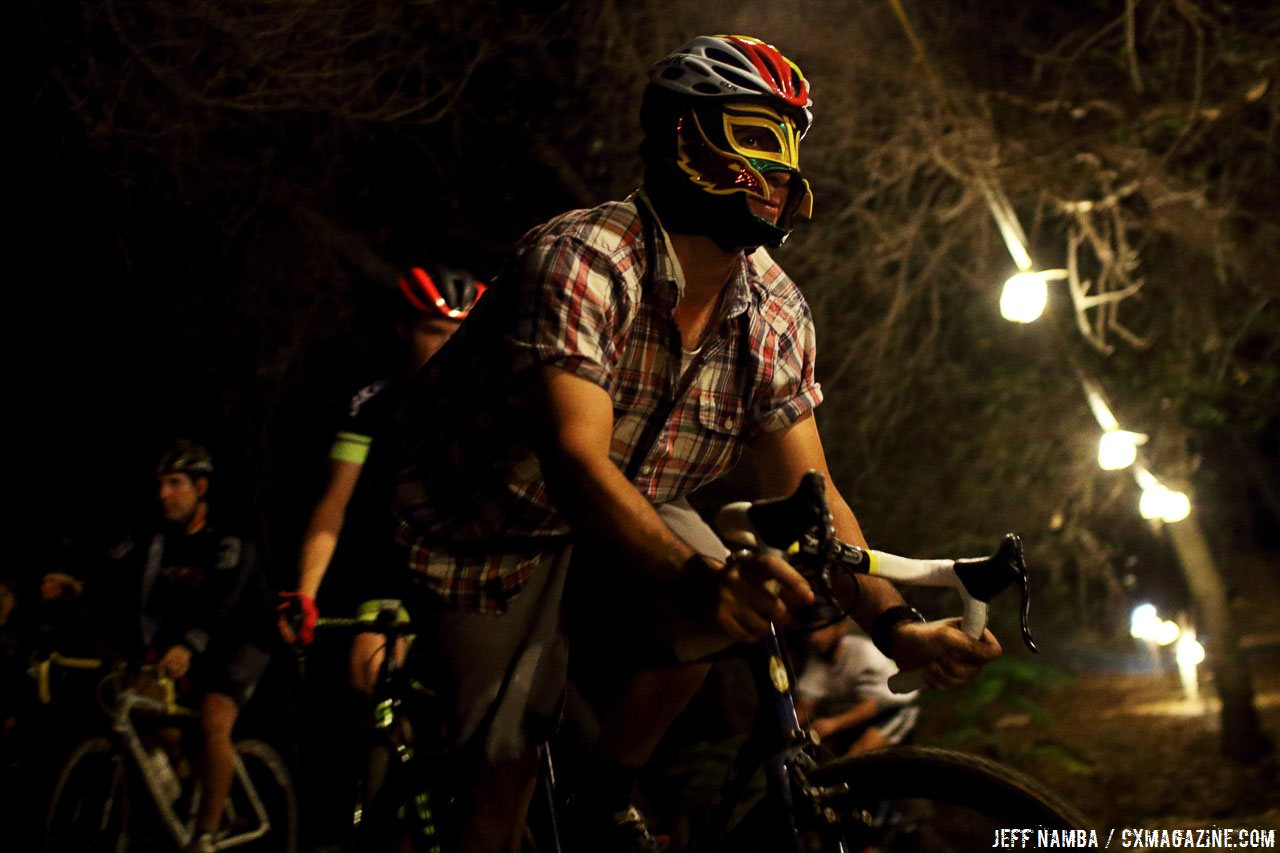 A bird of prey's vision helped in the dark woods. Folsom Rodeo Cross, 10/26/2016. © Jeff Namba