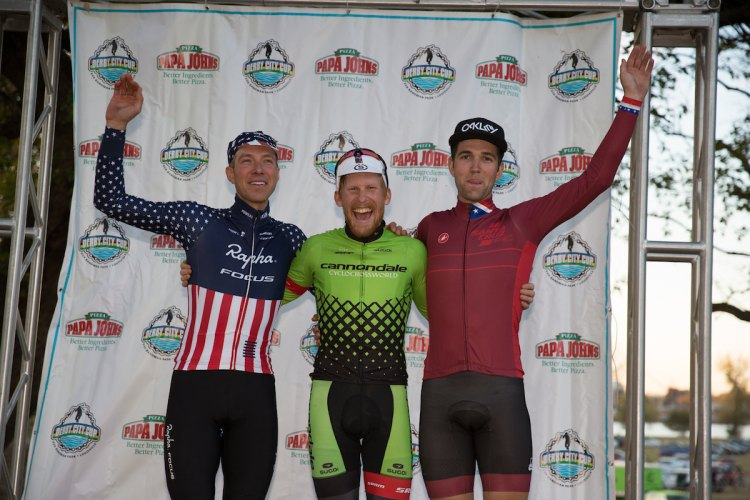 Men's podium for Day 2 of the Derby City Cup - Powers, Hyde, Ortenblad © Wil Matthews