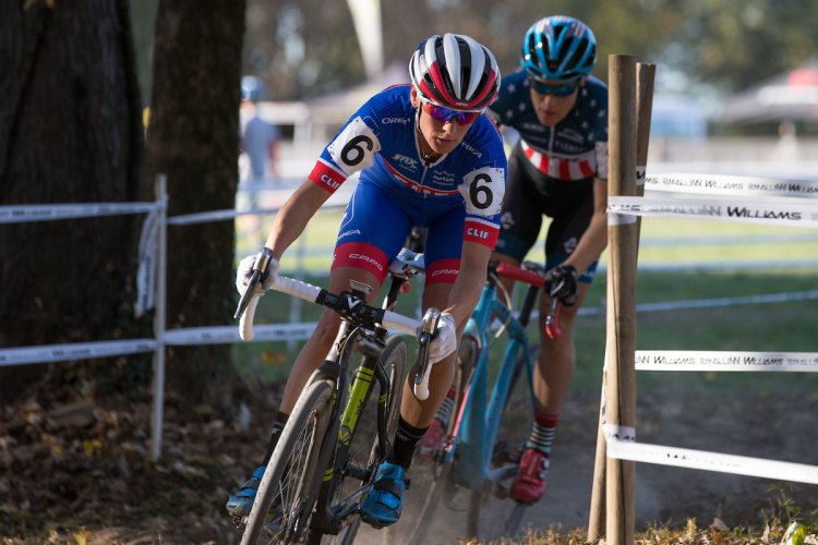 Katerina Nash leads Katie Compton during Day 2 of the Derby City Cup. © Wil Matthews