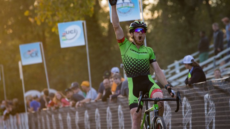 Stephen Hyde celebrates his dominant performance at the Derby City Cup. © Wil Matthews