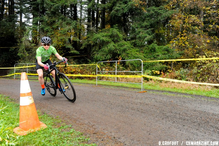 Early rain created a slick race course at penultimate round of thee MFG Cyclocross Series. © Geoffrey Crofoot