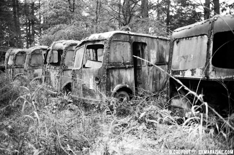 """The """"bone yard"""" of old trucks and buses that pepper the grounds of the auto museum provide an interesting backdrop to the race course. © Geoffrey Crofoot"""