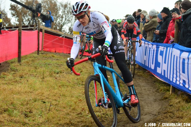 Katie Compton (USA) finished a close second - 2016 Zeven UCI Cyclocross World Cup Elite Women. © C. Jobb / Cyclocross Magazine