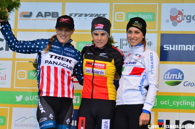 Elite Women's podium: Sanne Cant (BEL) first, Katie Compton (USA) second, Alice Maria Arzuffi (ITA) third at the 2016 Zeven UCI Cyclocross World Cup Elite Women. © C. Jobb / Cyclocross Magazine