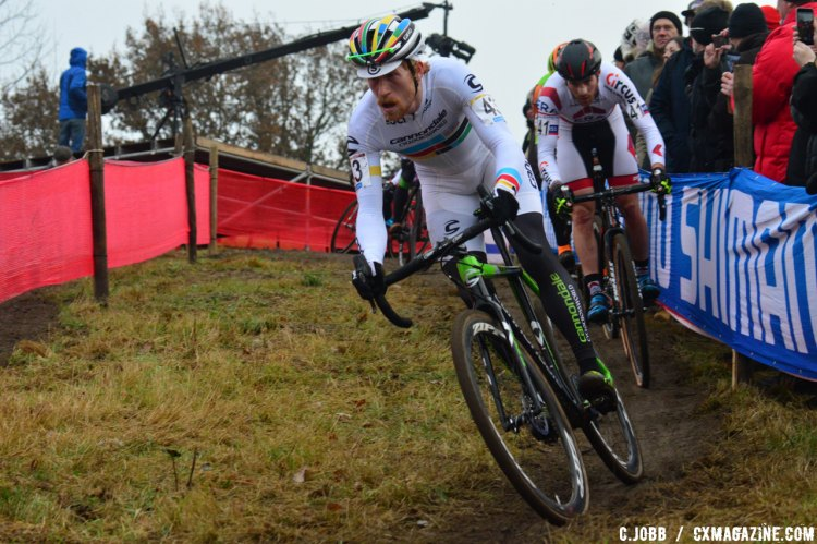 Stephen Hyde (USA) ended up the top American in in 30th place for the 2016 Zeven Cyclocross World Cup Elite Men's race. © C. Jobb / Cyclocross Magazine