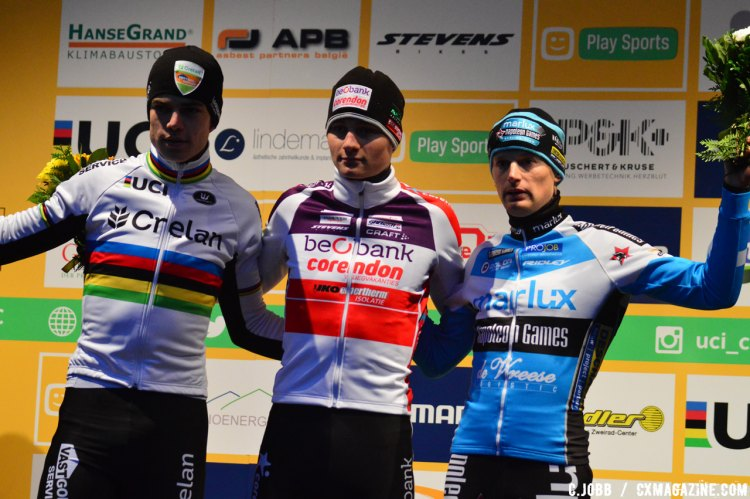 Elite Men's podium: Mathieu Van Der Poel (first), Wout Van Aert (second) and Kevin Pauwels (third) at the 2016 Zeven World Cup. © C. Jobb / Cyclocross Magazine