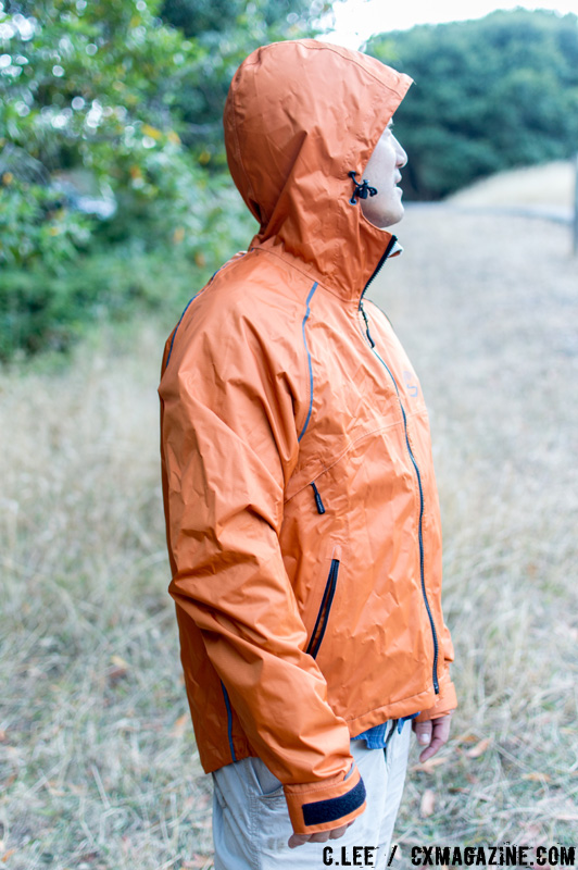 The Syncline jacket has long sleeves for forward reach and snug hood fits under a helmet. C. Lee / Cyclocross Magazine