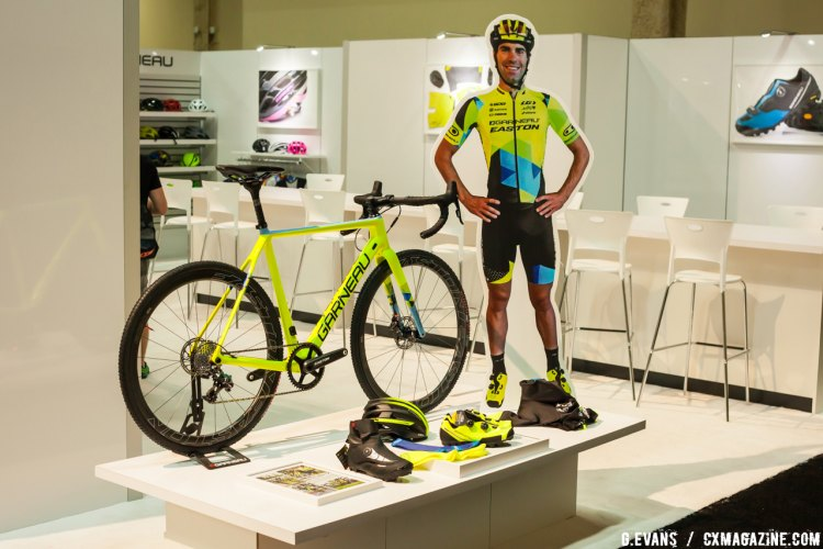 Craig Richey and his life-size cutouts sport the Copper T-Flex shoe to match the neon bikes and kit. © Cyclocross Magazine