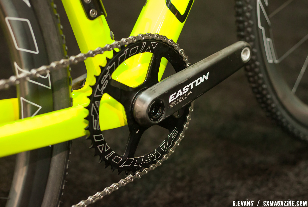 The other end of the drivetrain is all Easton with an EC90 SL carbon crank and a 44t Easton direct mount ring. © Cyclocross Magazine