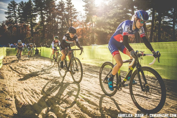 Maghalie Rochette leads Crystal Anthony through the sand pit. © Angelica Dixon
