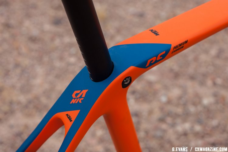 "The Canic frame features KTM's Performance Carbon and incorporates a ""hidden"" seat post binder bolt. © Cyclocross Magazine"