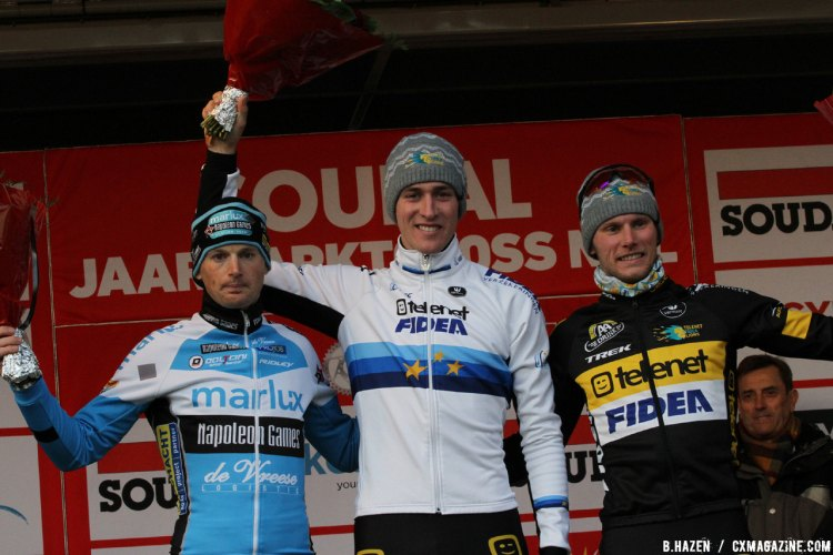 Jaarmarktcross in Niel Podium: Toon Aerts (first), Kevin Pauwels (second), Corne van Kessel (third) © B. Hazen / Cyclocross Magazine