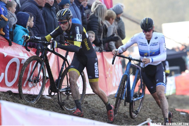 Jim Aernouts leads teammate Toon Aerts. © B. Hazen / Cyclocross Magazine